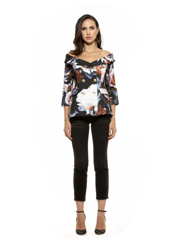 Karinna Off Shoulder Floral Jacket - Multi - Front