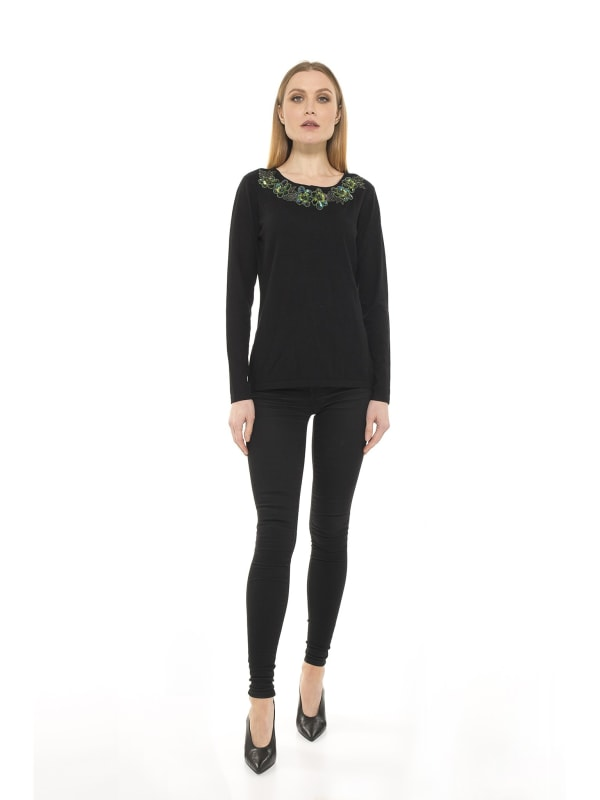 Floral Embellish Trim Sweater Top