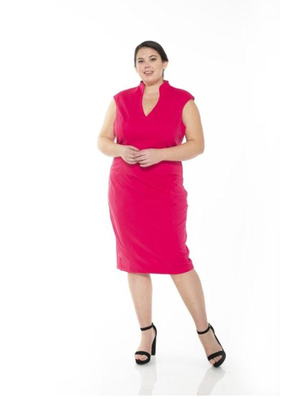 Katrina V-Neck Midi Dress - Plus - Fuchsia - Front