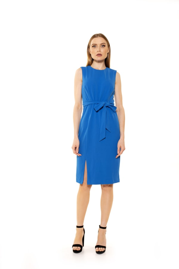 Serenity Crewneck Sheath With Side Slit - Bright Turquoise - Front