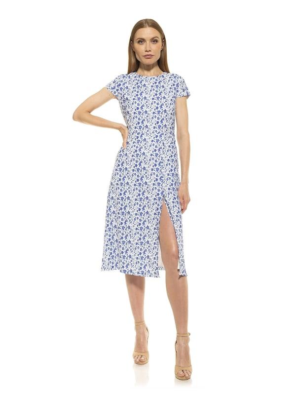 Lily Crewneck Midi Dress With Slit