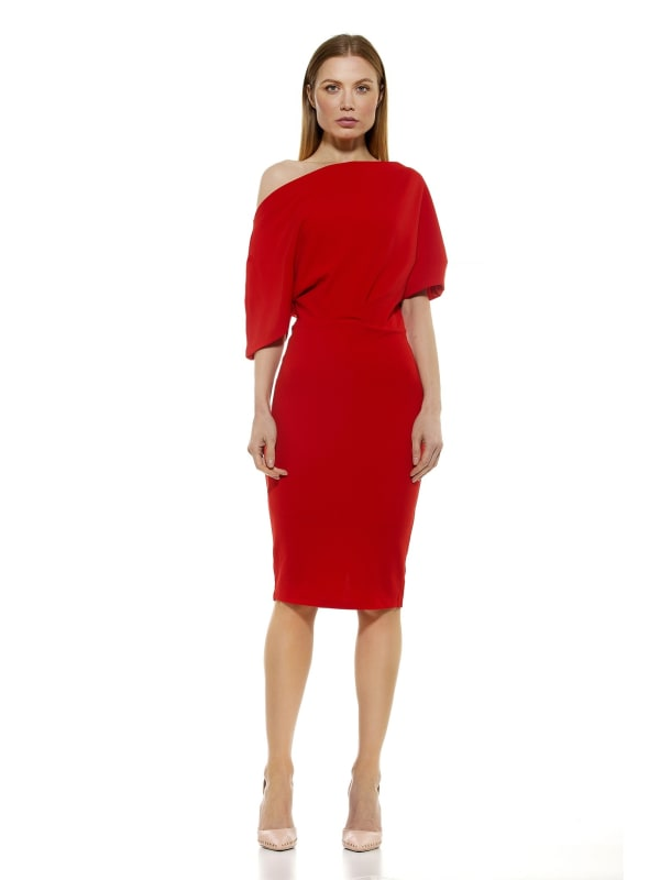 Olivia Draped One Shoulder Sheath - Red - Front