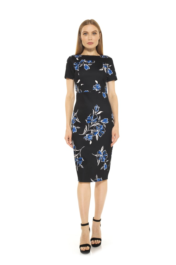 Kristina Midi Sheath - Etched Floral - Front