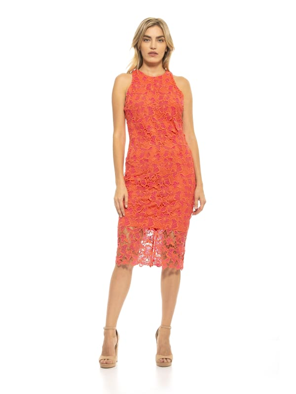Reese Halter Lace Midi Sheath Dress - Coral - Front
