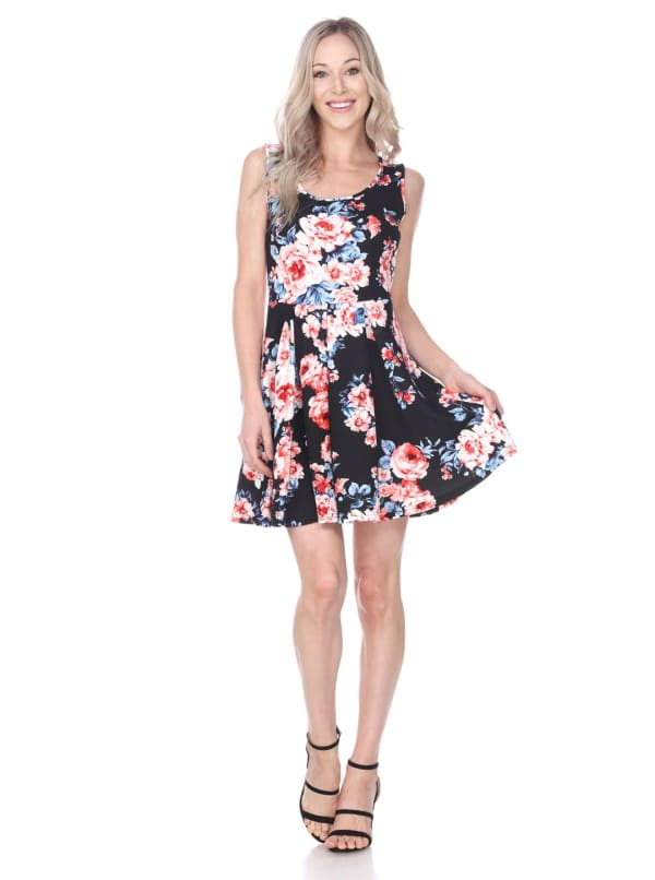 Crystal Fit & Flare Flower Print Mini Dress - Black / Coral - Front