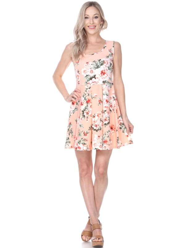 Crystal Fit & Flare Flower Print Mini Dress - Peach - Front