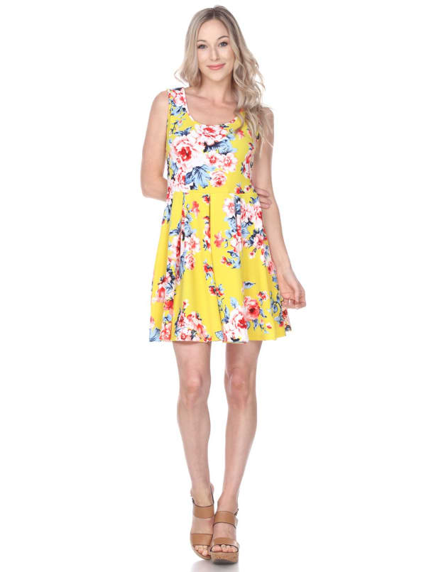 Crystal Fit & Flare Flower Print Mini Dress - Yellow - Front