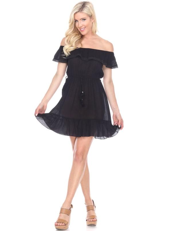 Smocked Solid Off The Shoulder Dress - Black - Front