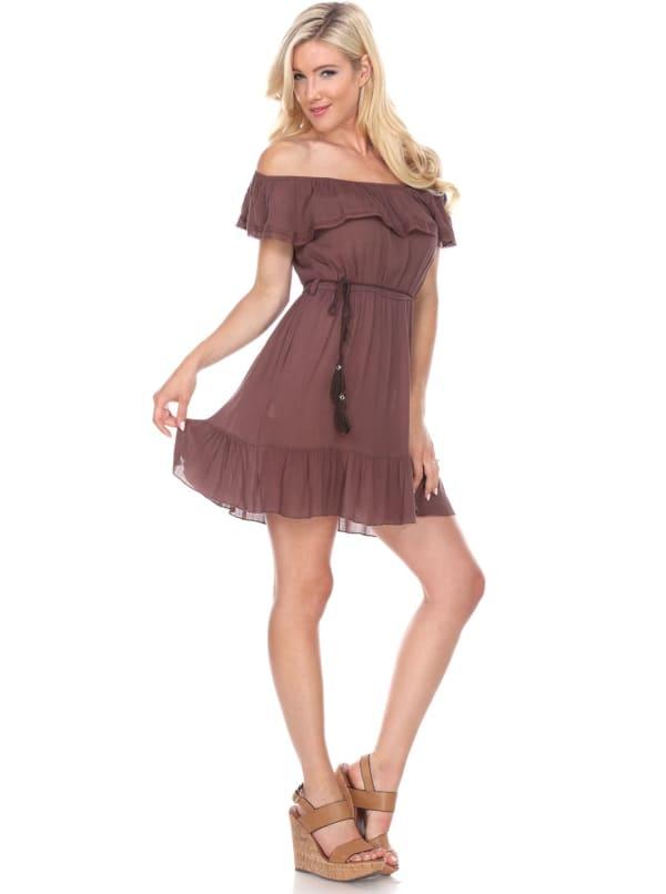 Smocked Solid Off The Shoulder Dress - Brown - Front
