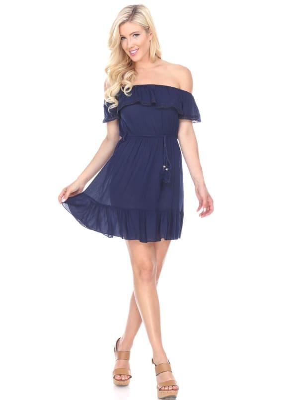 Smocked Solid Off The Shoulder Dress