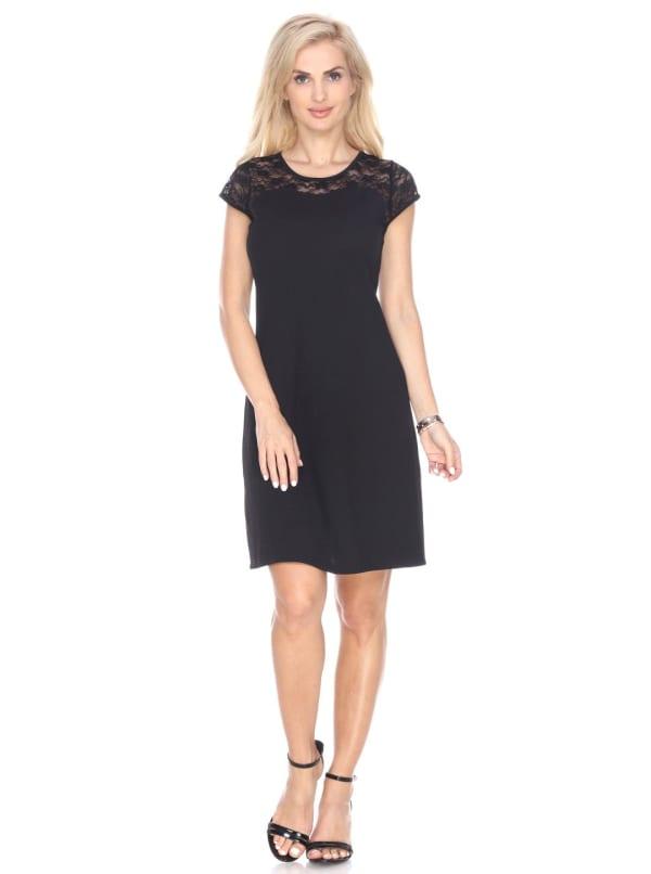 Pelagia Short Sleeve Lace Dress - Black - Front