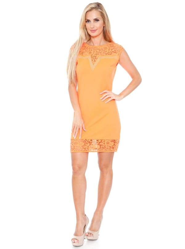 Charlotte Crochet Lace Bodycon Dress - Orange - Front