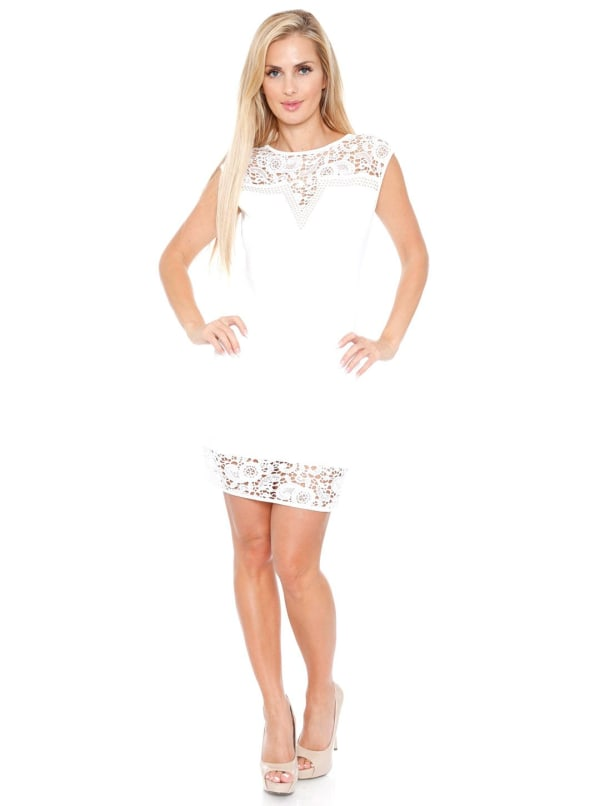 Charlotte Crochet Lace Bodycon Dress - Off White - Front