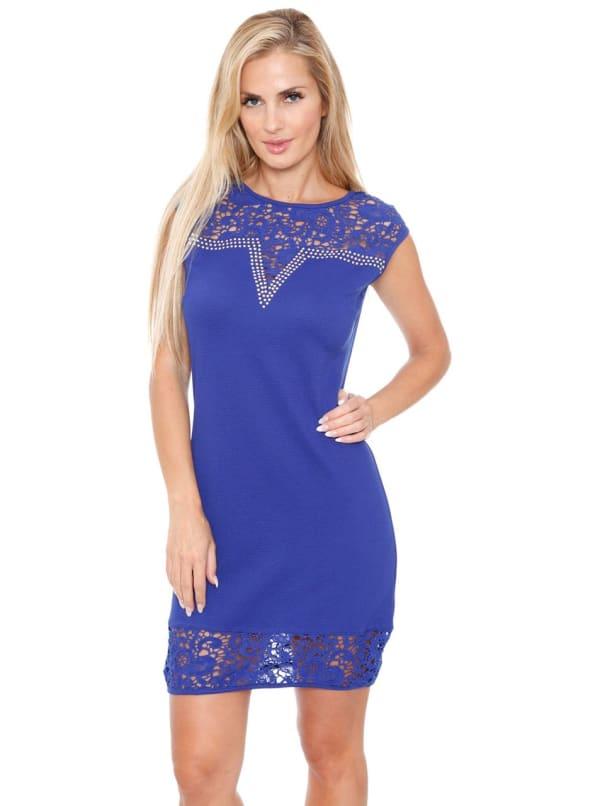 Charlotte Crochet Lace Bodycon Dress - Royal - Front