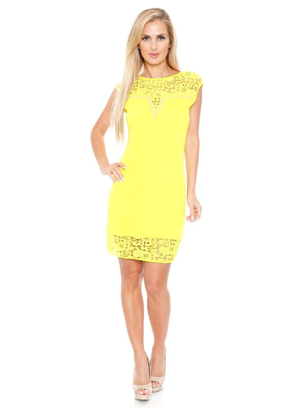 Charlotte Crochet Lace Bodycon Dress - Yellow - Front