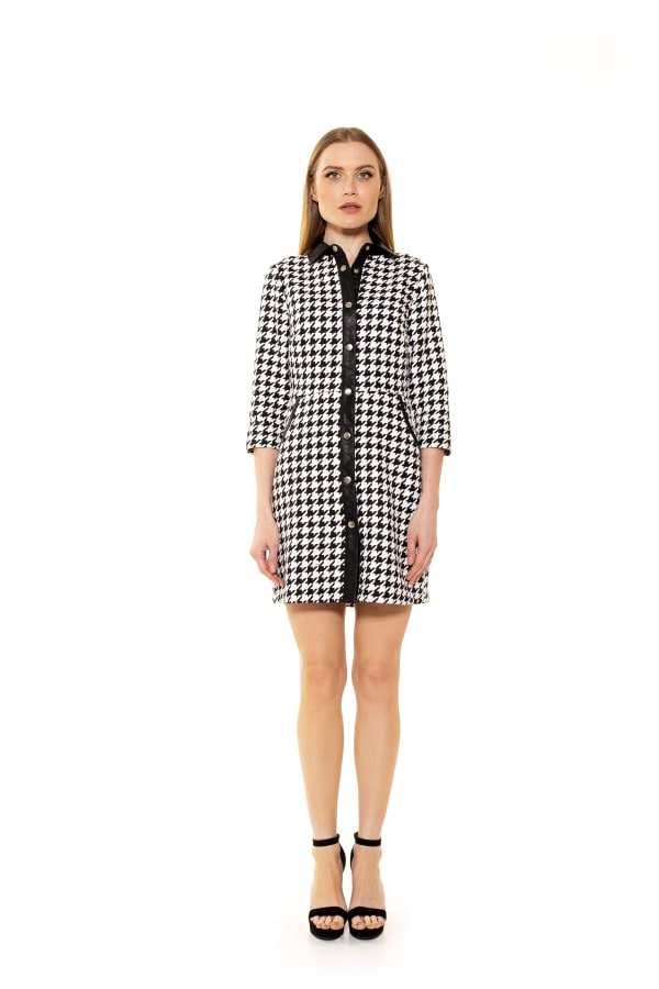 Reaghan 3/4 Sleeve Button Down Dress - Houndstooth - Front