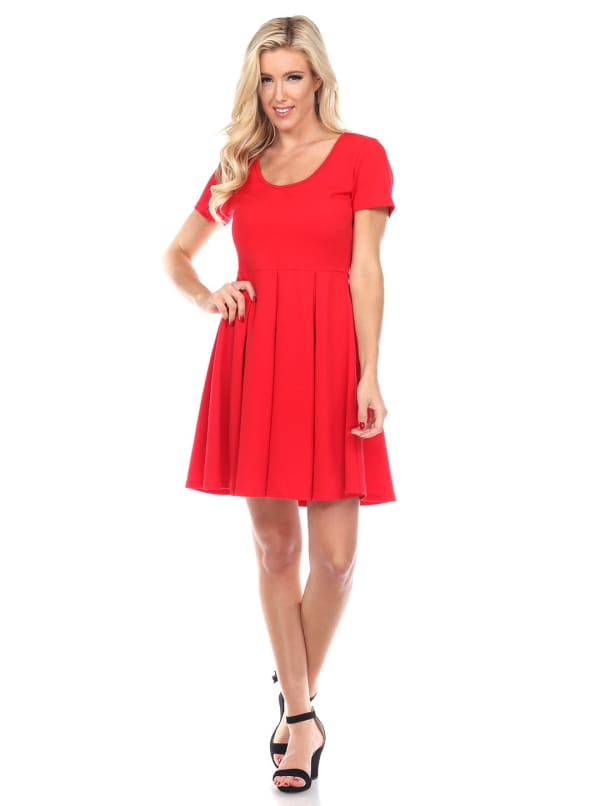 Meghan Short Sleeve Fit & Flare Dress - Red - Front