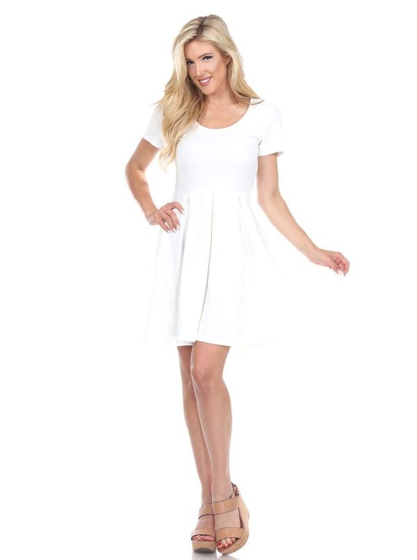 Meghan Short Sleeve Fit & Flare Dress - White - Front