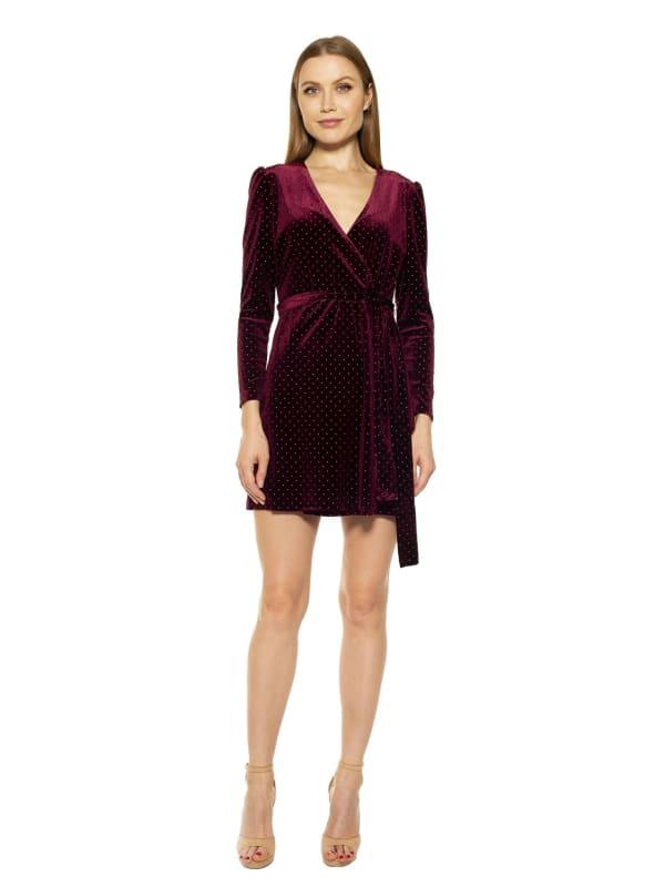 Amelia Wrap Dress - Burgundy - Front