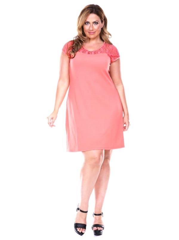 Pelagia Cap Sleeve Round Neck Dress - Plus