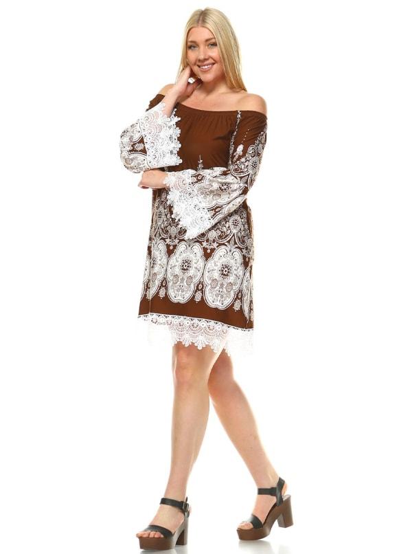 Mya Boat Neckline Lace Hemline Dress - Plus - Brown / White - Front