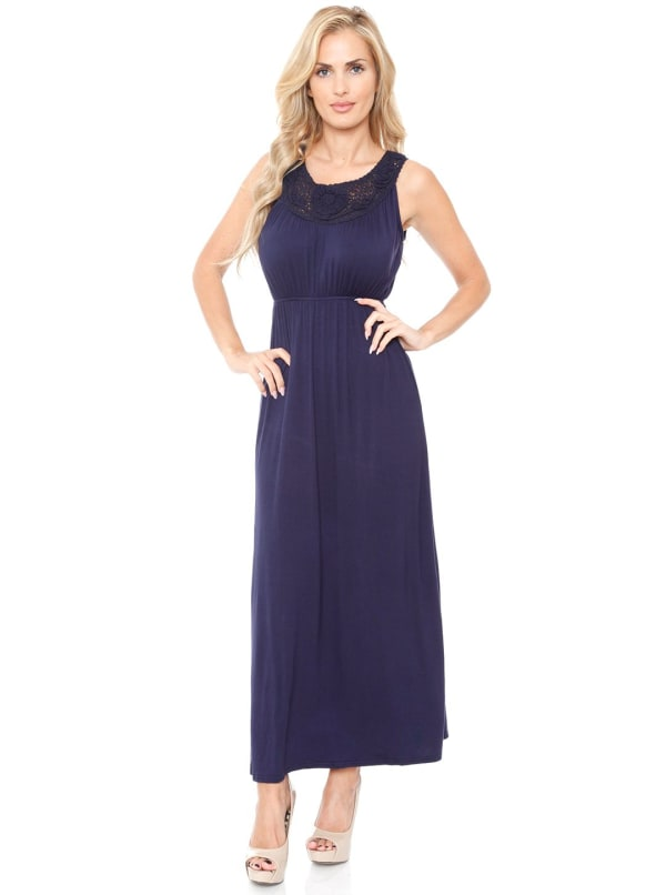 Katherine Scoop Neckline Sleeveless Maxi Dress - Navy - Front