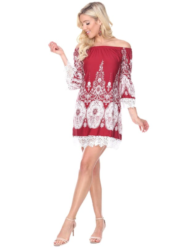 Mya Shift Lace Hemline Dress -Burgundy / White - Front
