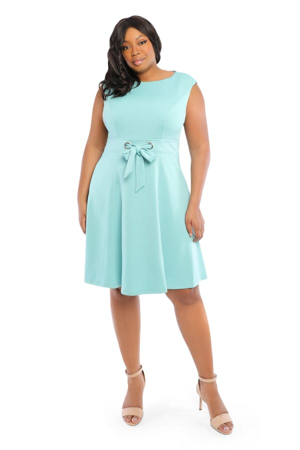 Betty Cap Sleeve Tie Waist Fit and Flare Dress - Plus - Aqua - Front