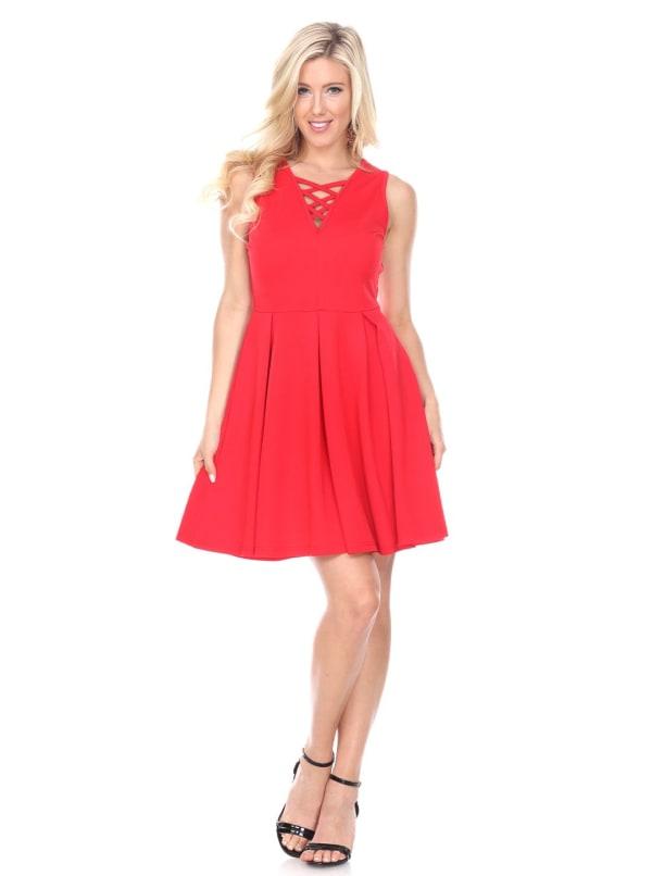 Shay Fit & Flare Crisscrossed Neckline Dress
