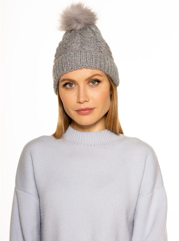 Angela Cable Knit Beanie with Pom - Navy Multi - Front