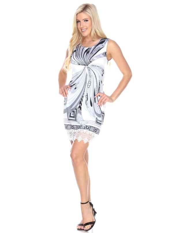 Quinn Lace Hemline Tunic Dress - White / Black - Front