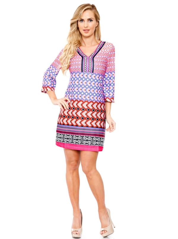 Khloe Bell Sleeve V-Neckline Dress - Pink - Front