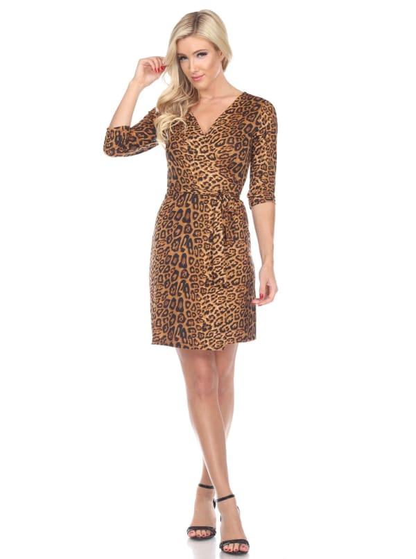 Mariah 3/4 Sleeve V-Neckline Wrap Dress