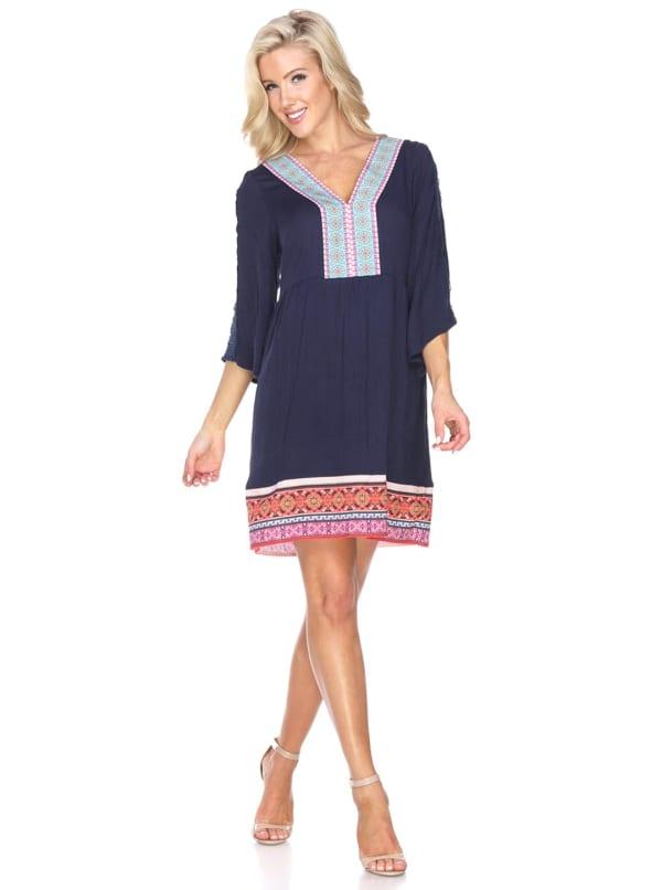 Gabrielle V-Neckline Embroidered Dress - Navy - Front