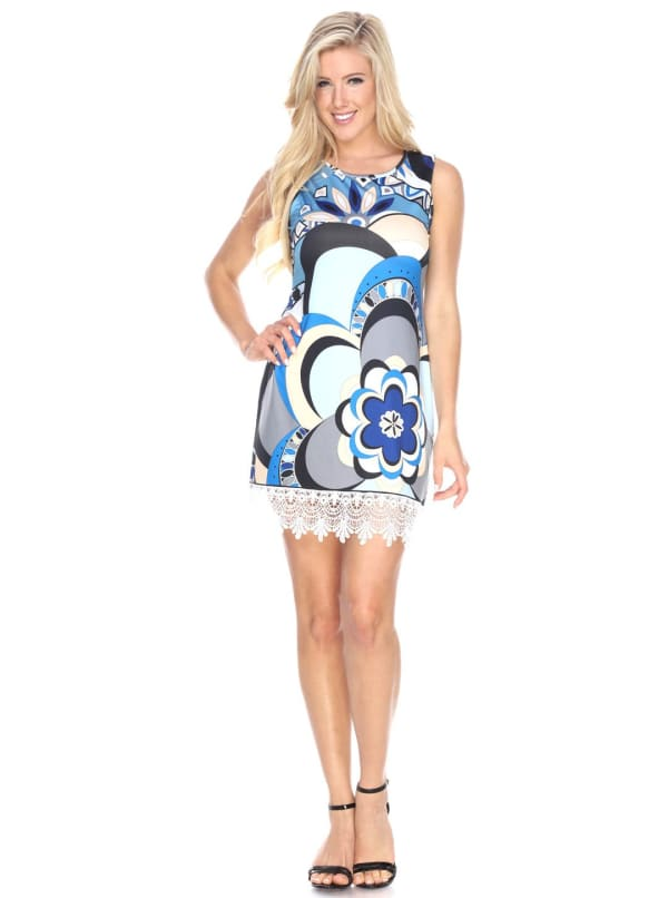 Mireya Lace Hemline Tunic Dress - Natural / Blue - Front
