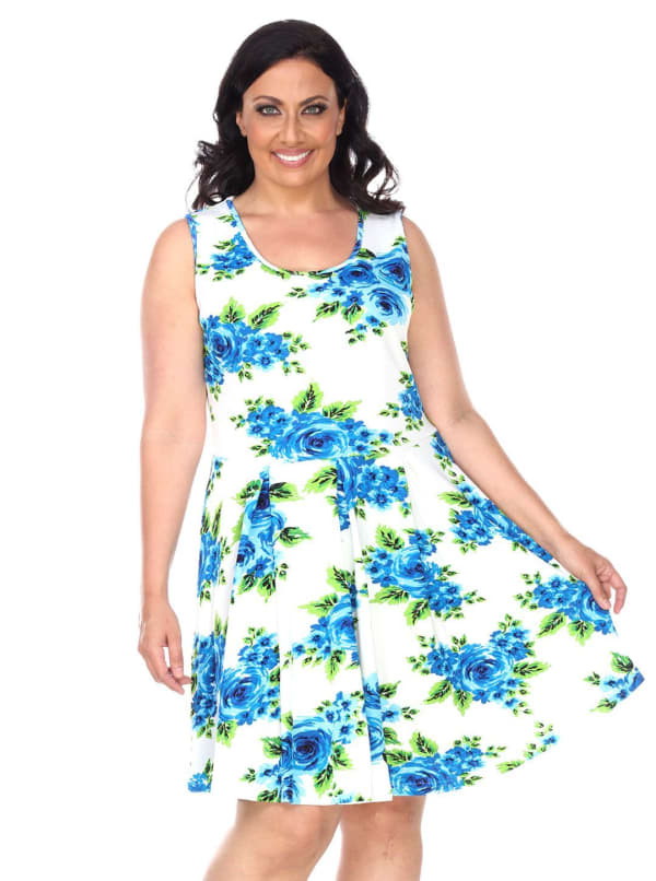 Crystal Round Neck Floral Print Dress - Plus - Blue Flowers - Front