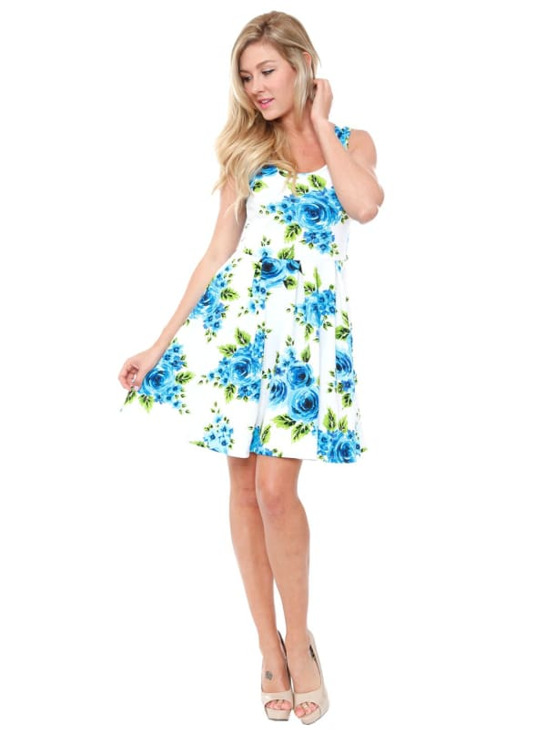 Floral Crystal Fit and Flare Dress