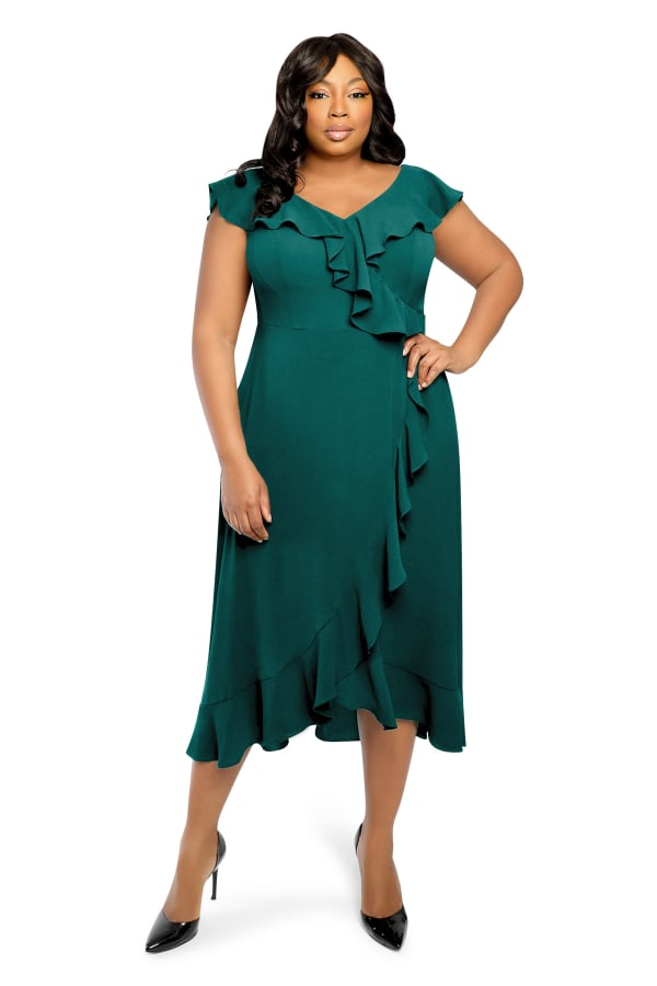 Kira V-Neck Cap Sleeve Ruffle Wrap Midi Dress - Plus - Emerald - Front