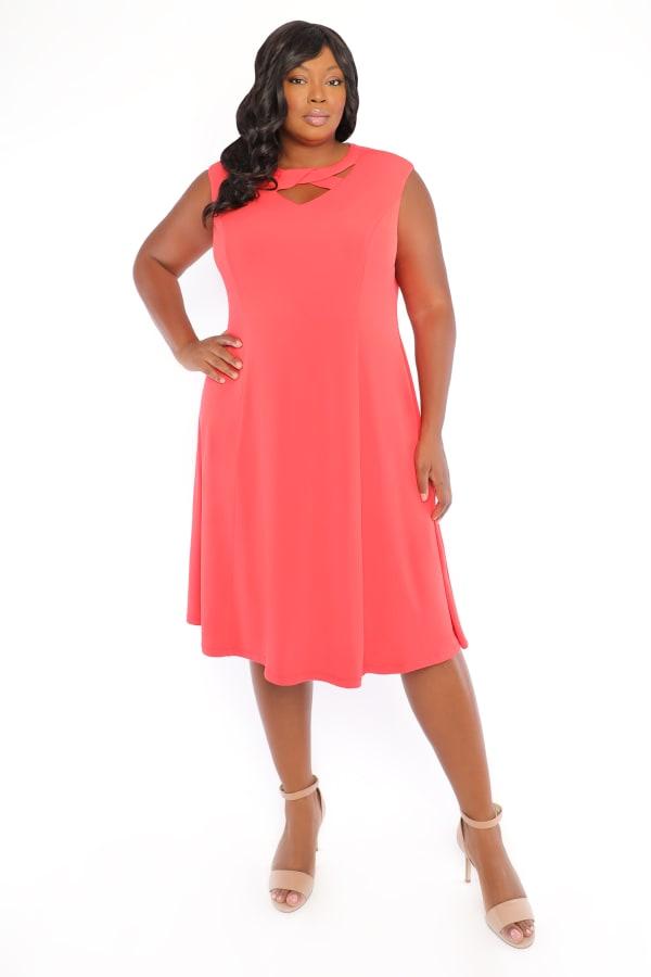 Rachel Sleeveless Criss Cross Neck Midi Dress - Plus - Coral - Front