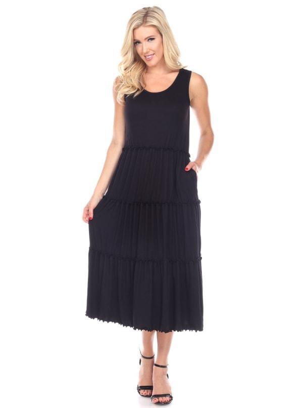 Scoop Neck Tiered Midi Dress - Black - Front