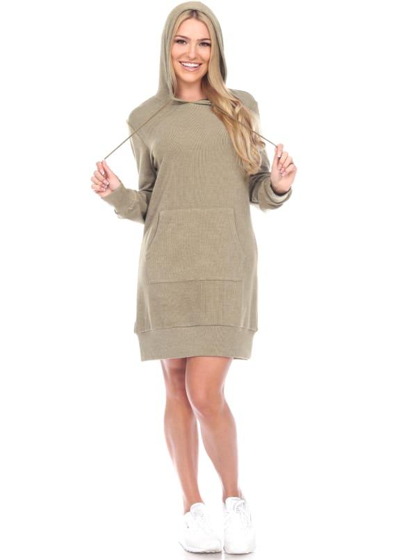 Hoodie Sweatshirt Dress - Green - Front