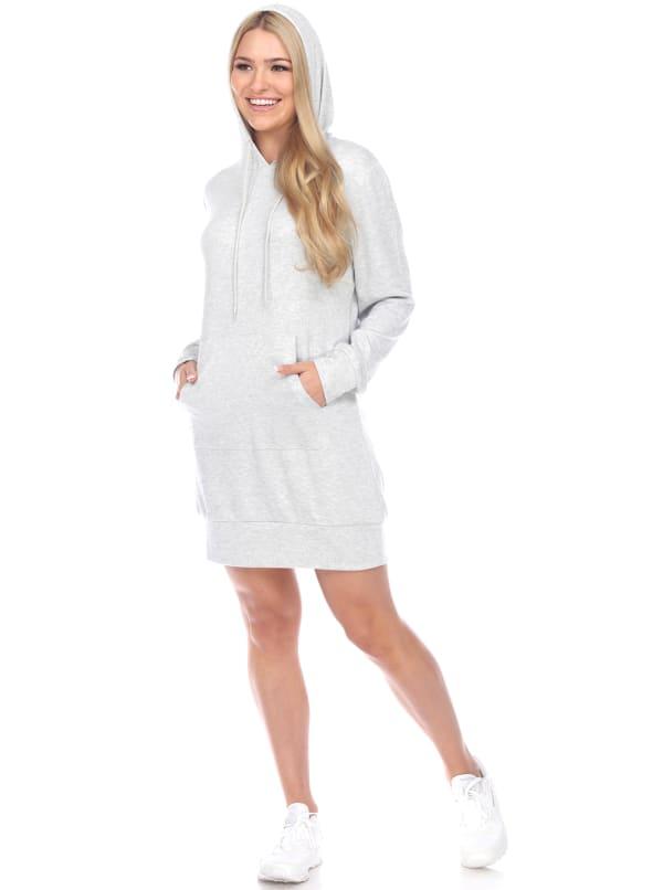Hoodie Sweatshirt Dress - Heather Grey - Front