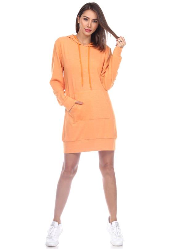 Hoodie Sweatshirt Dress - Orange - Front