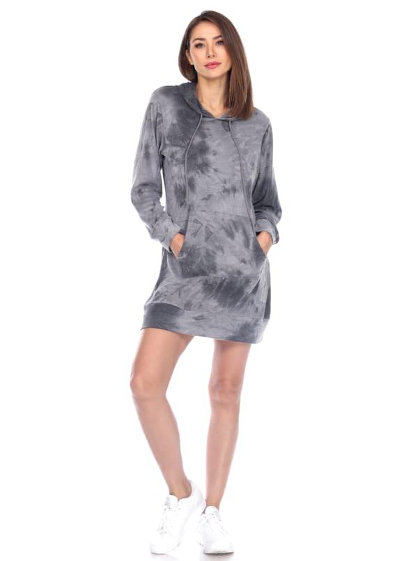 Hoodie Tie Dye Sweatshirt Dress - Charcoal Tie Dye - Front