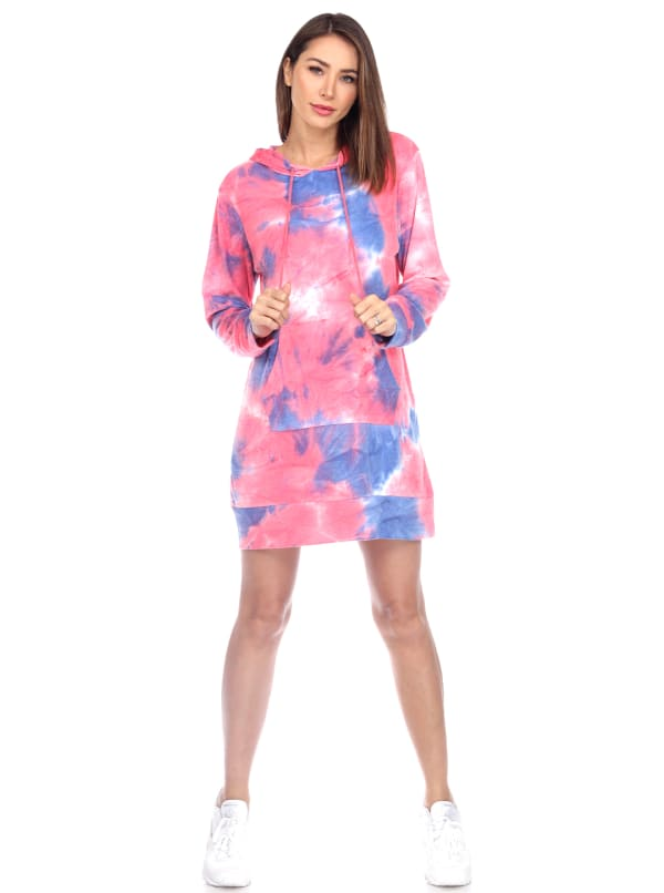 Hoodie Tie Dye Sweatshirt Dress - Pink / Blue Tie Dye - Front