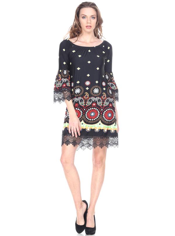 Rakel 3/4 Bell Sleeve Lace Hemline Dress - Black - Front