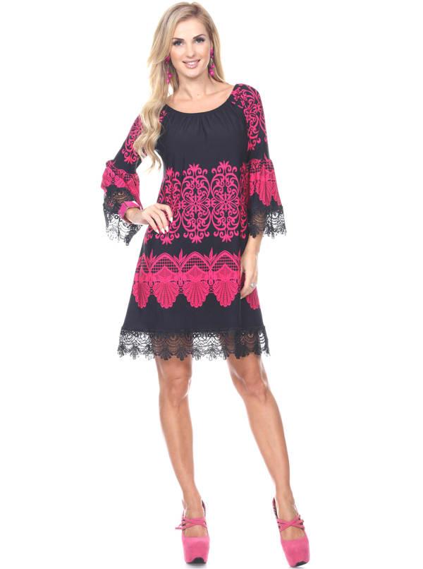 Alta 3/4 Sleeve Empire Waist Dress - Fuchsia - Front
