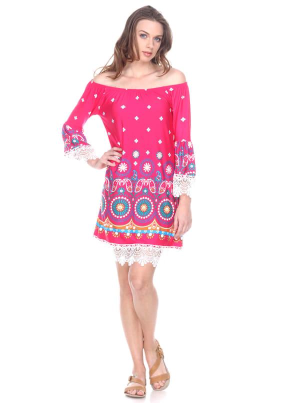 Rakel 3/4 Bell Sleeve Lace Hemline Dress - Fuchsia - Front