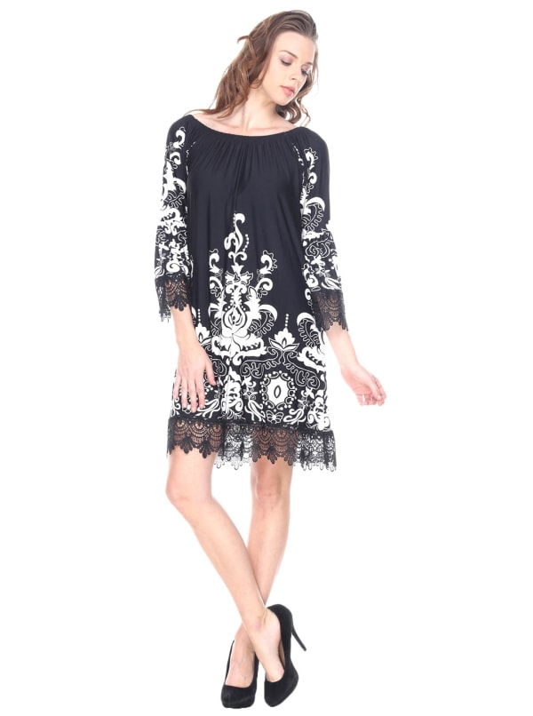 Uniss 3/4 Bell Sleeve Lace Hemline Dress - Black - Front