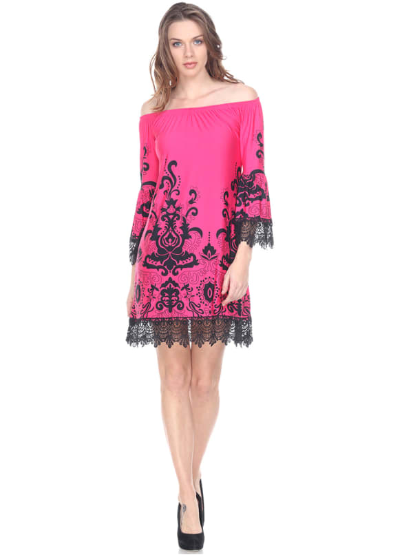 Uniss 3/4 Bell Sleeve Lace Hemline Dress - Fuchsia - Front